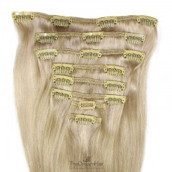 Set of 8 Pieces of Weft, Clip in Hair Extensions, Color #22 (Light Pale Blonde), Made With Remy Indian Human Hair