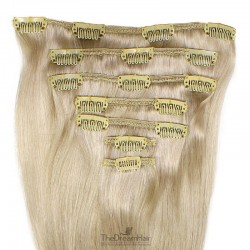 Set of 7 Pieces of Weft, Clip in Hair Extensions, Color #22 (Light Pale Blonde), Made With Remy Indian Human Hair