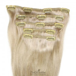 Set of 5 Pieces of Weft, Clip in Hair Extensions, Color #22 (Light Pale Blonde), Made With Remy Indian Human Hair