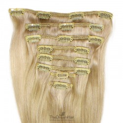 Set of 8 Pieces of Weft, Clip in Hair Extensions, Color #24 (Golden Blonde), Made With Remy Indian Human Hair
