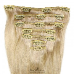 Set of 7 Pieces of Weft, Clip in Hair Extensions, Color #24 (Golden Blonde), Made With Remy Indian Human Hair