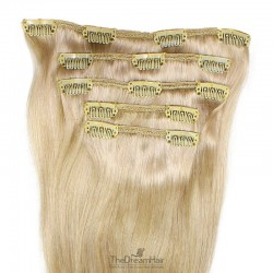 Set of 5 Pieces of Weft, Clip in Hair Extensions, Color #24 (Golden Blonde), Made With Remy Indian Human Hair
