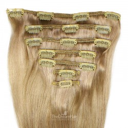Set of 7 Pieces of Weft, Clip in Hair Extensions, Color #14 (Dark Ash Blonde), Made With Remy Indian Human Hair