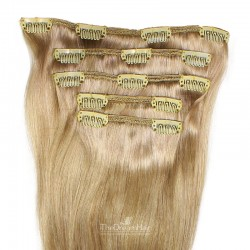 Set of 5 Pieces of Weft, Clip in Hair Extensions, Color #14 (Dark Ash Blonde), Made With Remy Indian Human Hair