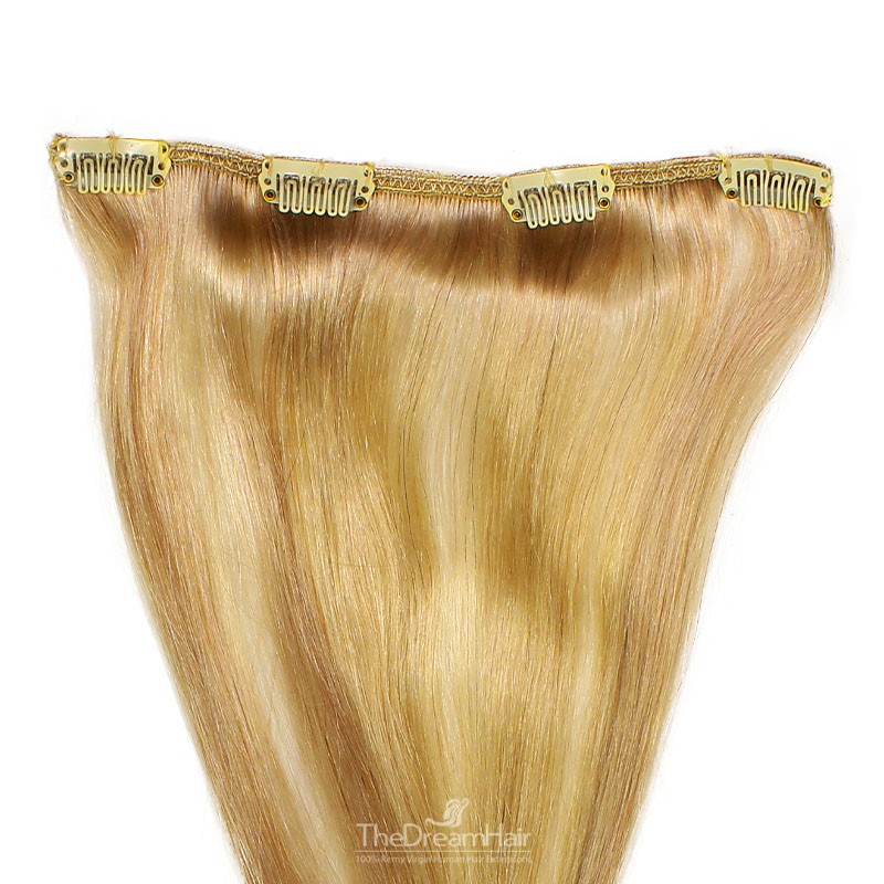 One Piece of Weft, Clip in Hair Extensions, Color #18 (Light Ash Blonde), Made With Remy Indian Human Hair