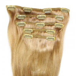 Set of 5 Pieces of Weft, Clip in Hair Extensions, Color #18 (Light Ash Blonde), Made With Remy Indian Human Hair