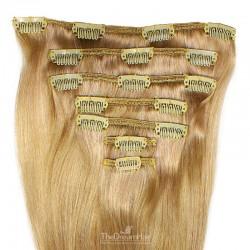 Set of 7 Pieces of Weft, Clip in Hair Extensions, Color #18 (Light Ash Blonde), Made With Remy Indian Human Hair