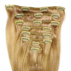 Set of 8 Pieces of Weft, Clip in Hair Extensions, Color #18 (Light Ash Blonde), Made With Remy Indian Human Hair