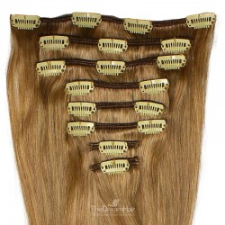 Set of 8 Pieces of Weft, Clip in Hair Extensions, Color #10 (Golden Brown), Made With Remy Indian Human Hair