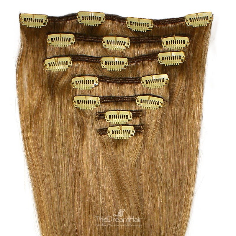 Set of 7 Pieces of Weft, Clip in Hair Extensions, Color #10 (Golden Brown), Made With Remy Indian Human Hair