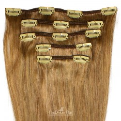 Set of 5 Pieces of Weft, Clip in Hair Extensions, Color #10 (Golden Brown), Made With Remy Indian Human Hair