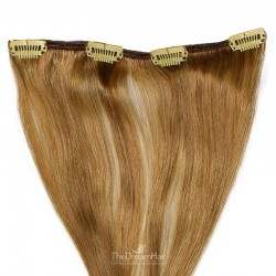 One Piece of Weft, Clip in Hair Extensions, Color #10 (Golden Brown), Made With Remy Indian Human Hair