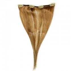 One Piece of Weft, Clip in Hair Extensions, Color #12 (Light Brown), Made With Remy Indian Human Hair