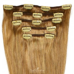 Set of 5 Pieces of Weft, Clip in Hair Extensions, Color #12 (Light Brown), Made With Remy Indian Human Hair