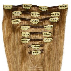 Set of 8 Pieces of Weft, Clip in Hair Extensions, Color #12 (Light Brown), Made With Remy Indian Human Hair