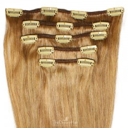 Set of 5 Pieces of Weft, Clip in Hair Extensions, Color #27 (Honey Blonde), Made With Remy Indian Human Hair
