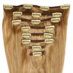 Set of 8 Pieces of Weft, Clip in Hair Extensions, Color #27 (Honey Blonde), Made With Remy Indian Human Hair