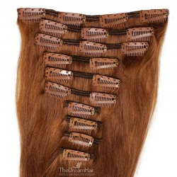 Set of 10 Pieces of Weft, Clip in Hair Extensions, Color #30 (Dark Auburn), Made With Remy Indian Human Hair