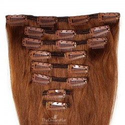 Set of 8 Pieces of Weft, Clip in Hair Extensions, Color #30 (Dark Auburn), Made With Remy Indian Human Hair