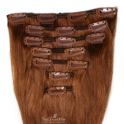 Set of 7 Pieces of Weft, Clip in Hair Extensions, Color #30 (Dark Auburn), Made With Remy Indian Human Hair