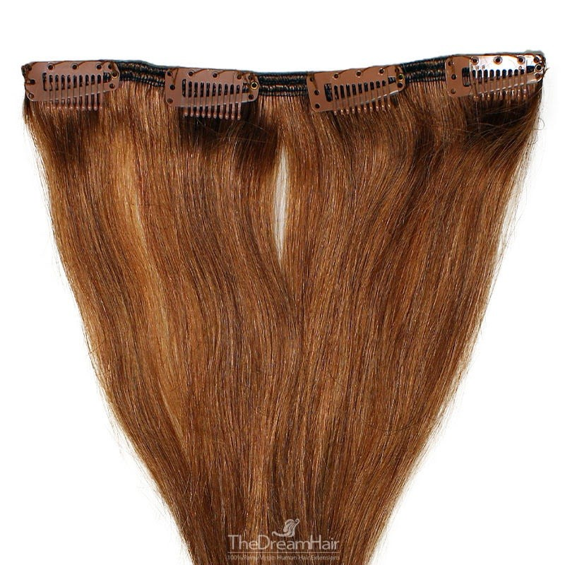 One Piece of Weft, Clip in Hair Extensions, Color #30 (Dark Auburn), Made With Remy Indian Human Hair