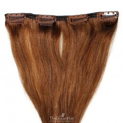 One Piece of Weft, Clip in Hair Extensions, Color #33 (Auburn), Made With Remy Indian Human Hair