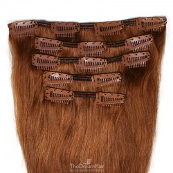 Set of 5 Pieces of Weft, Clip in Hair Extensions, Color #33 (Auburn), Made With Remy Indian Human Hair