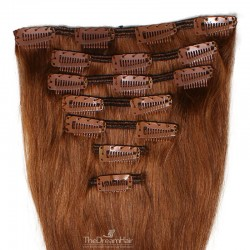 Set of 7 Pieces of Weft, Clip in Hair Extensions, Color #33 (Auburn), Made With Remy Indian Human Hair