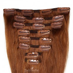 Set of 8 Pieces of Weft, Clip in Hair Extensions, Color #33 (Auburn), Made With Remy Indian Human Hair