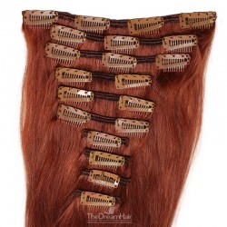 Set of 10 Pieces of Weft, Clip in Hair Extensions, Color #35 (Red Rust), Made With Remy Indian Human Hair),