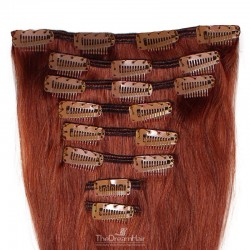 Set of 8 Pieces of Weft, Clip in Hair Extensions, Color #35 (Red Rust), Made With Remy Indian Human Hair