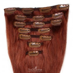 Set of 7 Pieces of Weft, Clip in Hair Extensions, Color #35 (Red Rust), Made With Remy Indian Human Hair
