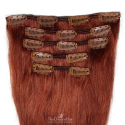 Set of 5 Pieces of Weft, Clip in Hair Extensions, Color #35 (Red Rust), Made With Remy Indian Human Hair