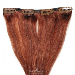 One Piece of Weft, Clip in Hair Extensions, Color #350 (Dark Copper Red), Made With Remy Indian Human Hair