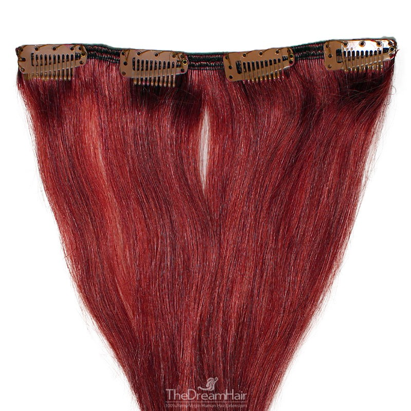 One Piece of Weft, Clip in Hair Extensions, Color #530 (Red Wine), Made With Remy Indian Human Hair