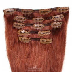 Set of 5 Pieces of Weft, Clip in Hair Extensions, Color #350 (Dark Copper Red), Made With Remy Indian Human Hair