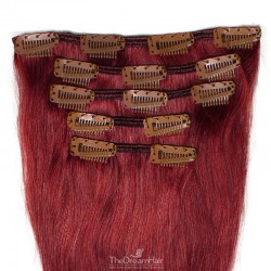 Set of 5 Pieces of Weft, Clip in Hair Extensions, Color #530 (Red Wine), Made With Remy Indian Human Hair