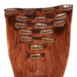 Set of 7 Pieces of Weft, Clip in Hair Extensions, Color #350 (Dark Copper Red), Made With Remy Indian Human Hair