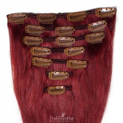 Set of 7 Pieces of Weft, Clip in Hair Extensions, Color #530 (Red Wine), Made With Remy Indian Human Hair