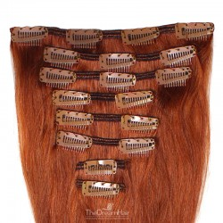 Set of 8 Pieces of Weft, Clip in Hair Extensions, Color #350 (Dark Copper Red), Made With Remy Indian Human Hair