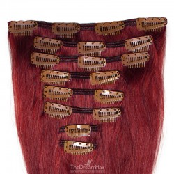 Set of 8 Pieces of Weft, Clip in Hair Extensions, Color #530 (Red Wine), Made With Remy Indian Human Hair