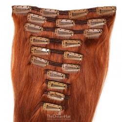 Set of 10 Pieces of Weft, Clip in Hair Extensions, Color #350 (Dark Copper Red), Made With Remy Indian Human Hair