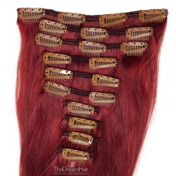 Set of 10 Pieces of Weft, Clip in Hair Extensions, Color #530 (Red Wine), Made With Remy Indian Human Hair