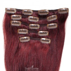 Set of 5 Pieces of Weft, Clip in Hair Extensions, Color #99j (Burgundy), Made With Remy Indian Human Hair