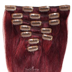 Set of 7 Pieces of Weft, Clip in Hair Extensions, Color #99j (Burgundy), Made With Remy Indian Human Hair