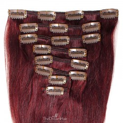 Set of 8 Pieces of Weft, Clip in Hair Extensions, Color #99j (Burgundy), Made With Remy Indian Human Hair