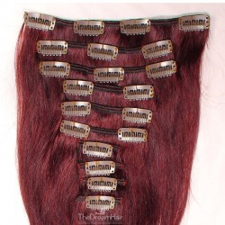Set of 10 Pieces of Weft, Clip in Hair Extensions, Color #99j (Burgundy), Made With Remy Indian Human Hair