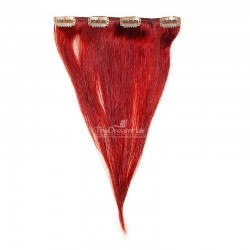 One Piece of Weft, Clip in Hair Extensions, Color Red, Made With Remy Indian Human Hair