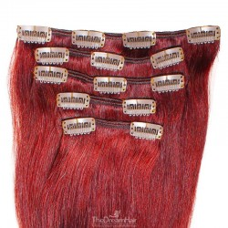 Set of 5 Pieces of Weft, Clip in Hair Extensions, Color Red, Made With Remy Indian Human Hair