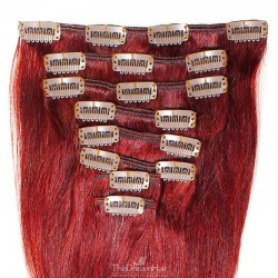 Set of 8 Pieces of Weft, Clip in Hair Extensions, Color Red, Made With Remy Indian Human Hair